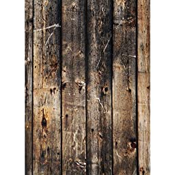 Photography Weathered Faux Wood Floor Drop Background Mat CF4055 Rubber Backing, 4\'x5\' High Quality Printing, Roll up for Easy Storage Photo Prop Carpet Mat