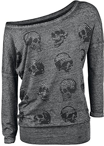Rock Rebel by EMP Skull Pad Burnout Longsleeve Manica lunga donna grigio XXL