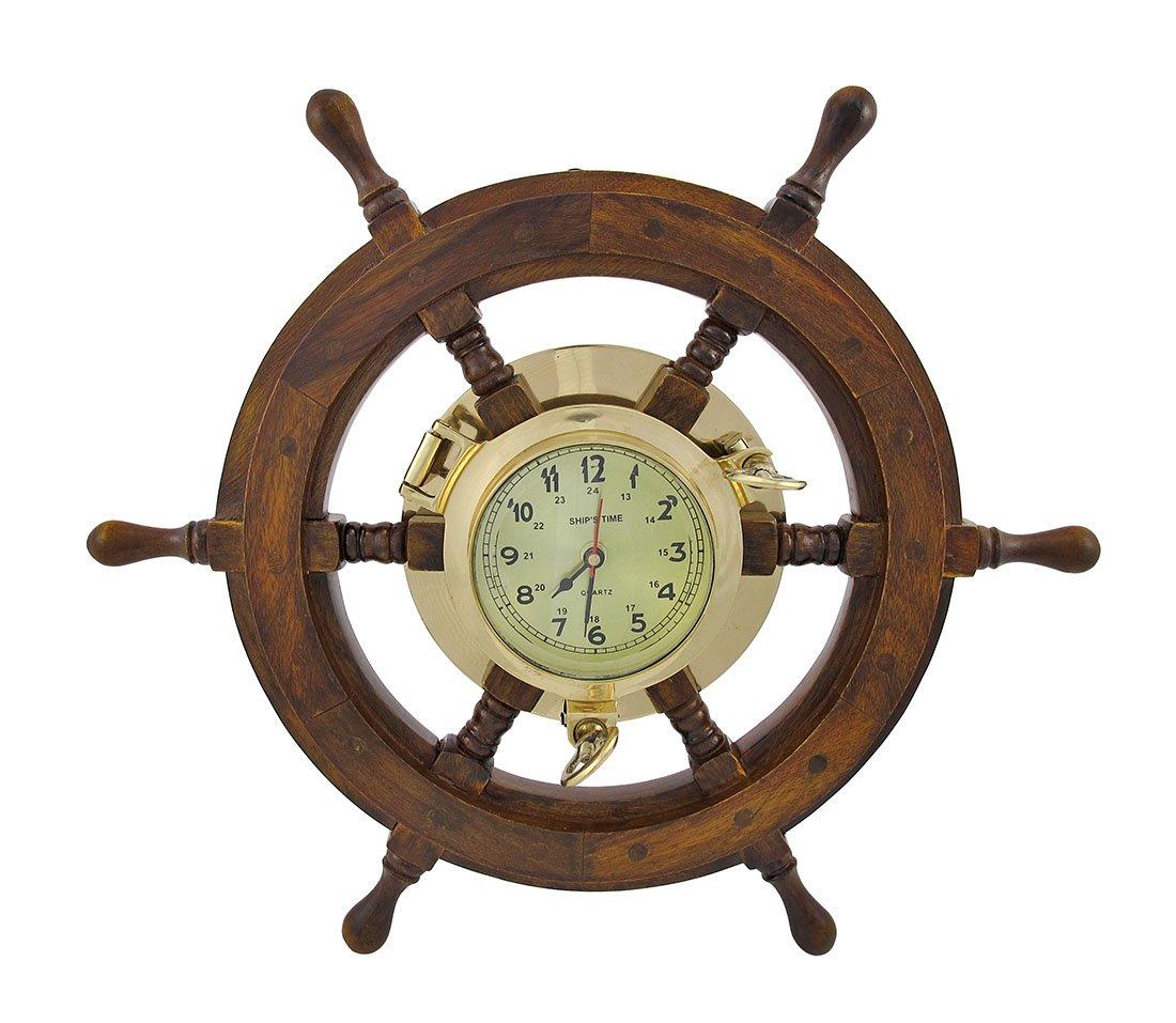 Welcome aboard boat ships life ring clock - Oak Ship S Wheel Clock Brass Porthole Nautical 15 Wide