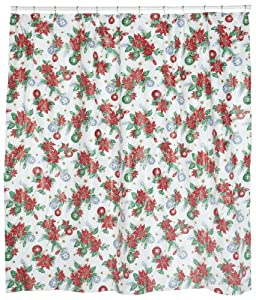 Carnation Home Fashions Poinsettia Vinyl 6 by 6 Shower Curtain