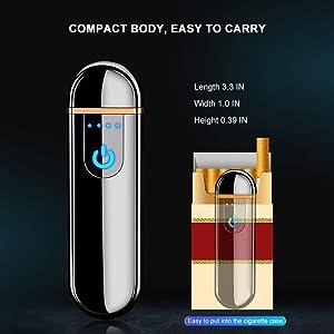 Electric USB Lighter Slim Portable Flameless Lighter Rechargeable Lighter Windproof Coil Cigarette Lighter with Smart Fingerprint Sensor Double Side Cigarette Ignition and Battery Indicator(Black) (Color: Black, Tamaño: 1.0 x 0.39 x 3.3 inches)