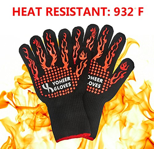 Yoheer 932F Extra-long Cut & Heat Resistant Oven Mitts with 100% Cotton Lining Good for Oven,Outdoor BBQ Grill,Fireplace Camping,Kitchen,Mechanics and so on. (Extra Small Oven Mitt compare prices)