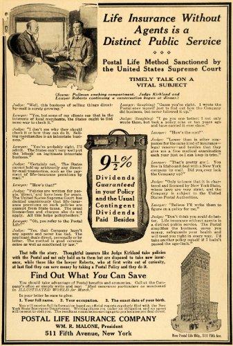 1917 Ad Postal Life Insurance Malone Pullman Kirkland - Original Print Ad