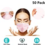 Cshopping Surgical Disposable Face Masks, Respirator Mouth Mask Medicom Safety Cover, Protective Safe Mask with Elastic Ear Loop, Block Dust Air Pollution Flu-50 Pieces (Color: Pink)