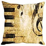 Sleep Nature's Micro Fabric Piano Printed Cushion Cover, 16 Inches X 16 Inches