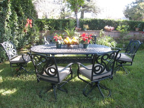 Patio Sets Clearance: CBM Outdoor Patio Furniture 7 Piece G Aluminum...
