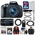 Canon EOS Rebel T5i Digital SLR Camera & EF-S 18-55mm IS STM with 75-300mm III & 500mm Lenses + 32GB Card + Backpack + Battery + Monopod + Kit