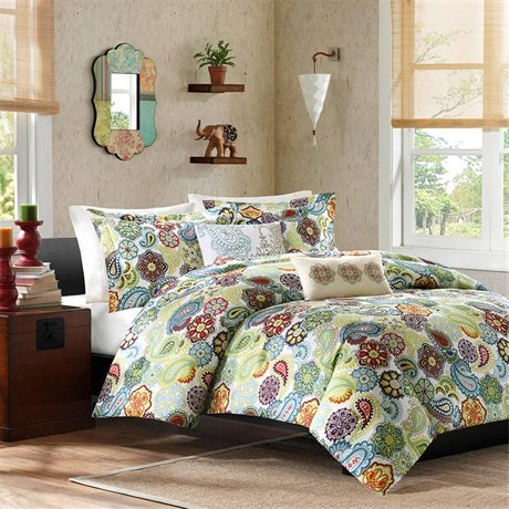 Mizone Tamil Comforter And Decorative Pillows Set - Multi - Full/Queen front-411369