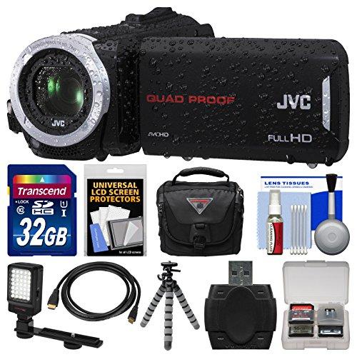 Jvc Everio Gz-R30 Quad Proof Full Hd Digital Video Camera Camcorder With 32Gb Card + Case + Led Light + Flex Tripod + Kit