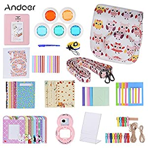 Andoer 14-in-1 Accessories Kit for Fujifilm Instax Mini 8/8+/8s Camera Case/Strap/Sticker/Selfie Lens/Colored Filter/Album/Kinds Film Table Frame/Wall Hanging Frame/Border Sticker/Corner Sticker/Pen