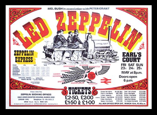 Vintage Music Poster Led Zeppelin - Earls Court May