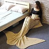 MAGF 人魚毛布 お昼寝毛布 可愛いひざ掛け 人魚姫に変身 着る毛布 ソファ毛布 柔らかい 暖かい 防寒 さまざまな色 160x60cm (ベージュ)