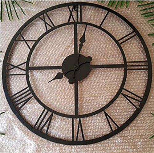 European and American styleEuropean, Roman numerals, large wall clock, American-style retro, metal wrought iron frame, do the old hollow, clock, A section, diameter 56CM (Big Wrought Iron Clock compare prices)