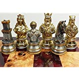 PEWTER METAL Medieval Times Crusades Knight Busts Chess Men Set Gold and Silver Color Plating - NO BOARD