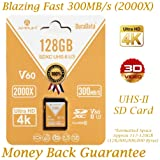 128GB V60 UHS-II SDXC SD Card - Amplim Blazing Fast 300MB/S (2000X) UHS2 Extreme High Speed 128 GB/128G SD XC Memory Card. 4K 8K Video Camera UHSII Card for Fujifilm, Nikon, Olympus, Panasonic, Sony (Color: V60 128GB, Tamaño: 128GB)
