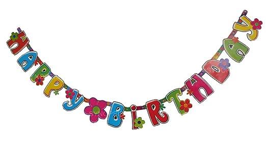 ハッピーバースデー  バナー お誕生日 (フラワー)