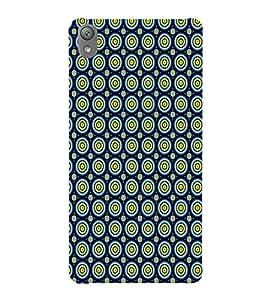 Printvisa Blue Yellow Polka Dot Illusion Pattern Back Case Cover for Sony Xperia E5