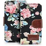 Saxonia. Deluxe Tasche f�r Apple iPhone 5 / 5S Blumen Handy Flip Case Schutz H�lle mit Visitenkarten F�cher und Magnetverschluss