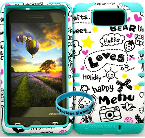 Wireless Fones Tm Verizon Motorola Droid Maxx Xt1080M Tuff Impact Hybrid Cover Case Heart Bear Love Happy Holiday Snap On + Baby Teal Silicone (Wireless Fones Tm Band Included)