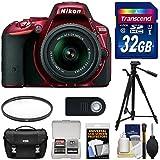 Nikon D5500 Wi-Fi Digital SLR Camera & 18-55mm G VR DX II AF-S Zoom Lens (Red) with 32GB Card + Case + Tripod + Filter + Accessory Kit