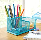 Viproo® 3 Compartments Mesh Collection Pen Holder Pencil Container Desk Organizer Office Supply Caddy (Blue)