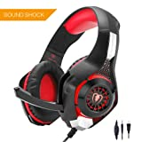 Beexcellent Gaming Headset GM-1 with Microphone Ear Headphone, Noise Reduction Game Volume Control Headband with Microphone LED Light for New for Xbox One S/Xbox one/PS4/Tablet/Laptop/Cell Phone (Red) (Color: Red)