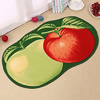 Lopkey Microfiber Non-Slip Water-absorbing Cute Fruits Half Round Shaped Bathroom Doorway Kitchen Floor Rug Carpet Mat for Kids Room