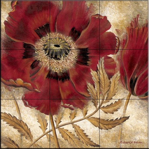 Red Poppy by Richard Henson - Kitchen Backsplash / Bathroom wall Tile Mural