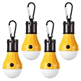 LED Camping Light [4 Pack] Doukey Portable LED Tent Lantern 4 Modes for Backpacking Camping Hiking Fishing Emergency Light Battery Powered Lamp for Outdoor and Indoor (Yellow)
