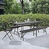 casapro-Tischgruppe-mit-2-Sthlen-und-Bnken-grau-Sitzgarnitur-Gartenmbel-Camping-Set