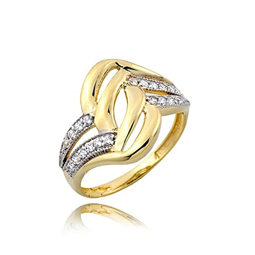 Unique ribbed zirconia pave and gold ring