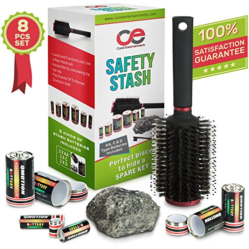 Battery Secret Stash, Hairbrush & Rock Diversion Safe Set By Coral Entertainments. AA, C & D Type Battery Pill Boxes - Ideal For Safely Hiding Money & Jewelry, Home, Car & Outdoors Secret Containers (Rock Container compare prices)