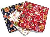 「 まり 毬 」 和風 和柄 ハンカチ バンダナ ふろしき 3枚セット 【日本製】 約53cm×約53cm 綿100%
