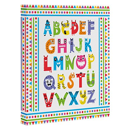 "DENY Designs Andi Bird Alphabet Monsters Art Canvas, 24"" x 30"""