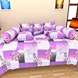 Bharti Home Fab Cotton Diwan Set (Pack of 8)- 90 inches x 60 inches, Purple