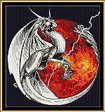 Cross Stitch Chart / Pattern - FIRE GUARDIAN [ PDF on a CD ]