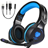 BUTFULAKE Xbox One Headset, Gaming Headset for Xbox One, Xbox One S, PS4, PC, Nintendo Switch, Laptop, Mac, Computer, 3.5mm Wired Over-Ear Gaming Head