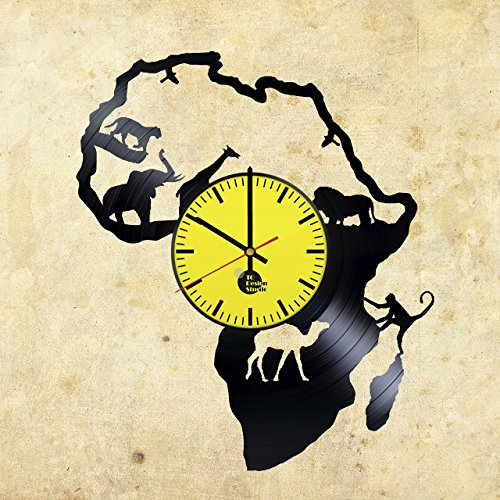 Africa-Continent-HANDMADE-Vinyl-Record-Wall-Clock-Get-unique-home-room-wall-decor-Gift-ideas-for-his-and-her-Wild-World-Unique-Art-Design-Leave-us-a-feedback-and-win-your-custom-clock