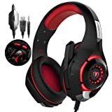 Xbox One Headset|RedHoney PS4 Gaming Headset|Xbox Gaming Headset|LED Gaming Headphones with Microphone for PS4 Xbox One PSP Netendo DS PC Tablet (Red) (Color: Red)