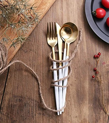 Jinsen Stainless Steel Flatware Set for Home Kitchen Restaurant Hotel ( White + Gold) (Hotel Flatware compare prices)