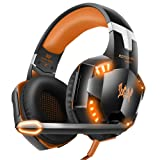 VersionTECH. G2000 Gaming Headset, Surround Stereo Gaming Headphones with Noise Cancelling Mic, LED Lights & Soft Memory Earmuffs for Xbox One, PS4, Nintendo Switch, PC Mac Computer Games- Orange (Color: Orange)