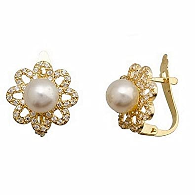18k gold earrings 6mm cultured pearl. Flower petals 8 [7173]