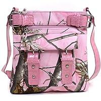 Realtree APG Pink Cross Body Messenger Bag, Womens Pink Camo Purse Shoulder Bag