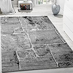 Designer Teppich Modern Trendig Meliert Steinoptik Mauer Muster Wohnzimmer Grau , Grösse:80x150 cm
