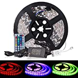 Toplus 16.4Ft 5M Waterproof Flexible Color Changing LED Strip Lights SMD5050 RGB 300 LEDs LED Strip Kit with 44Key Remote and 12V 5A Power Supply for Boats Bathroom Mirror Ceiling and Outdoor