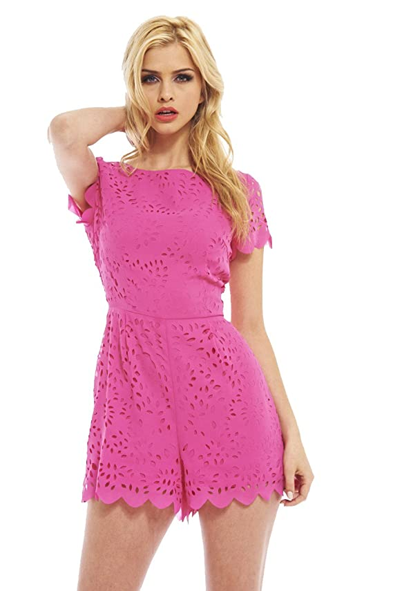 AX Paris Women's Allover Laser Cut Pink Romper