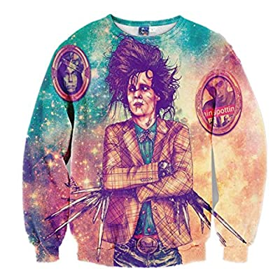 Fashion-Plus Men's Hoodies Long Sleeve Printed 3D Scissorhands Edward Sweatshirt