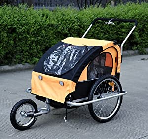 Aosom Cruiser 2in1 Double Child/Baby Bike Trailer and Stroller - Orange/Black
