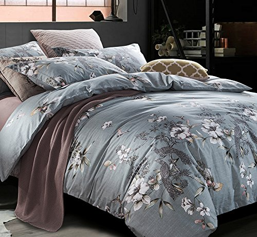 Exotic Modern Floral Print Bedding Birds Peacock Hummingbird Flowers Dusty Grey Design 100% Cotton Full Queen Duvet Cover 3pc Set Hibiscus Blossom Branches in Muted Gray Blue Full Queen Size 2