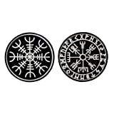 Antrix 2 Pieces Norse Viking Compass Rune Patch Tactical Viking Compass Rune Emblem Badge Adventure Morale Patches (Color: Norse Viking Compass Rune)